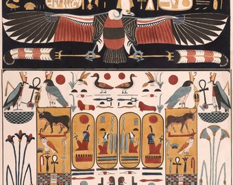 Ancient Egyptian Art Reproduction:  Vulture, Wall Painting from the Tomb of Psammuthis. Fine Art Print