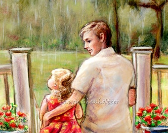 "Father Daughter, ""Rainy Day..Just Daddy and Me""  by Laurie Shanholtzer Canvas or art paper print"