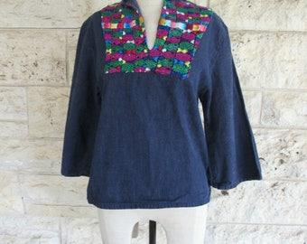 Guatemalan Blouse Indigo Huipil Small Embroidered Top 70's Guatemala Denim Top Embroidered Denim Bell Sleeves