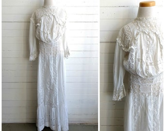 Edwardian lace tea dress, antique lace dress, xxs