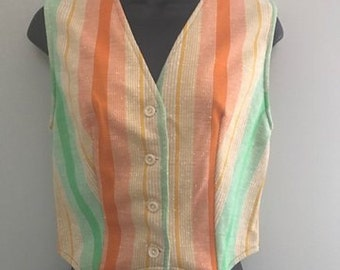 Vintage Rainbow Striped Vest / Spring Bright Colored Layering Vest / Womens Orange, Yellow and Green Striped Medium Vest