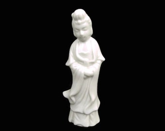 Vintage Blanc de Chine White Porcelain Geisha Figurine Made in Japan Hand Painted Statuette Kwan Yin Statue