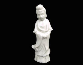Vintage Blanc de Chine White Porcelain Geisha Figurine Made in Japan Hand Painted Statuette Kwan Yin Statue