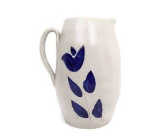 Vintage Williamsburg Pottery Pitcher Salt Glazed Stoneware Colbalt Blue Design Floral Pattern Handled Jug Farmhouse Vase Made in USA