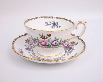Vintage Crown Staffordshire Teacup Saucer Hand Painted Lavender Pink Floral Made in England Fine Bone China English Tea Cup Gold Trim