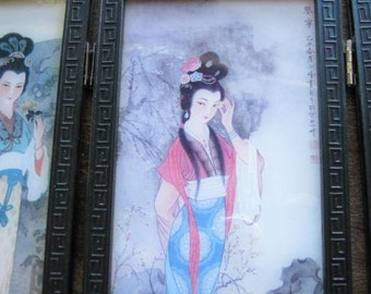 2-Sided Small Vintage Asian Screen with Kimono Girls; Asian Floral Arrangements~Black Lacquer Japanese  Mini Folding Screen