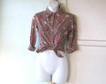 Red/Brown Retro Western Shirt; Women's XS-Small~Red Rose Print Long Sleeve Cotton Cowboy Shirt; Free Shipping/U.S.