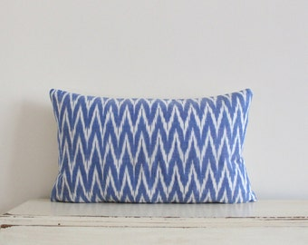 "SALE - Zig zag Ikat pillow cushion cover 12"" x 20"" in cornflower blue"