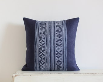 "Block printed diamond pillow cushion cover 20"" x 20"" in navy"