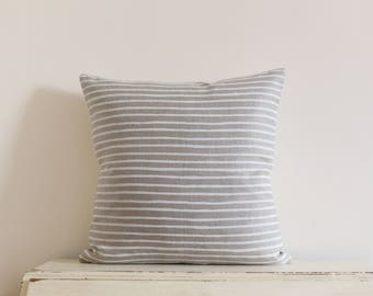 Painted stripe linen pillow cushion cover