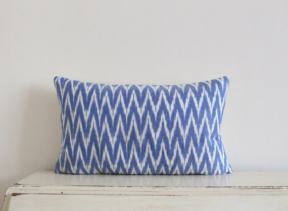 "Zig zag Ikat pillow cushion cover 12"" x 20"" in cornflower blue"
