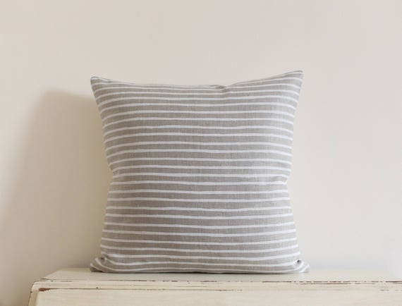 "Hand painted stripe linen pillow / cushion cover in white and tan 20"" x 20"""