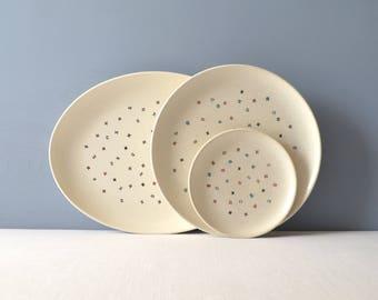 Metlox Poppytrail California Confetti Oval Serving Platter