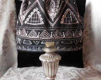 Altered Small Accent Lamp with Black/Metallic Fabric-Covered Shade Painted Silver/Pewter