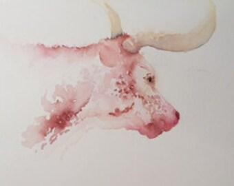 Texas longhorn, longhorn painting, cow print, cow painting, animal art, longhorn wall decor, canvas print, longhorn print,annette bennett
