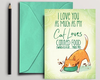 Cat Food Card, Digital Download, printable 5 by 7 card, cat card