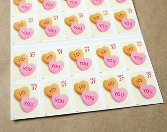 20 pieces - Vintage unused 2004 37 cent Candy Hearts postage stamps - great for wedding invitations, save the dates