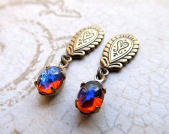 Gothic Dragons Breath Opal Earrings Mexican Fire Opal Earrings Game of Thrones Jewelry Fire Opal Earrings Stud Earrings- Fire