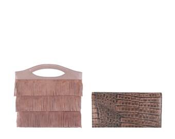 Leather shoulder bag ANDREA, BORA // brown silver alligator crocodile effect (Italian calf skin) - FREE shipping, unique