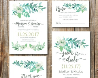 Green Wedding Invitation printables, garden wedding, rustic wedding, romantic wedding