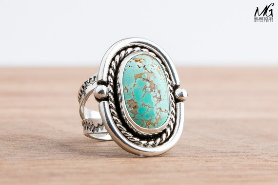SIZE 7.5 - Carico Lake Turquoise gemstone ring in Sterling Silver - Aqua Blue Ring - Bohemian Style Navajo Indian Southwestern Jewelry