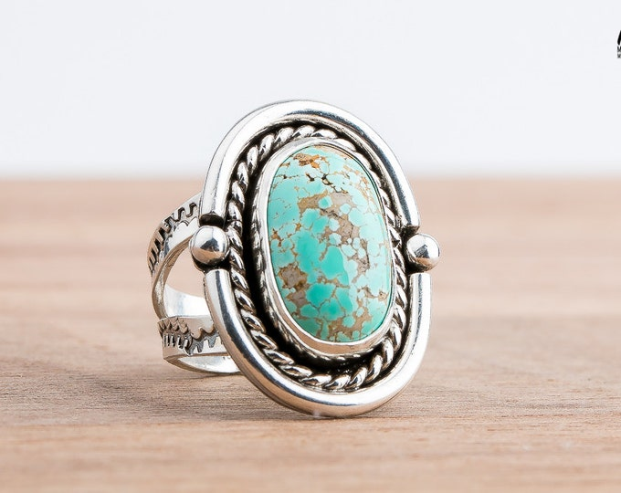 Carico Lake Turquoise gemstone ring in Sterling Silver - Size 7.5 - Aqua Blue Ring - Bohemian Style Navajo Indian Southwestern Jewelry