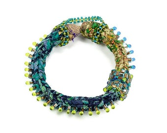 Beaded Bracelets, Ethnic Bangles, Handmade, Ethnic, Tribal, Boho Style, Gift for Her, Textile,  Glass Bead, Green and Blue, Fashion Bangles