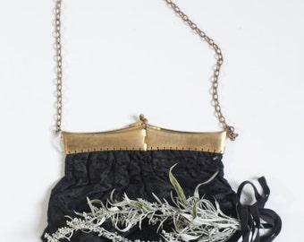 1900s Victorian Purse. - SteamPunk., Goth Wedding. // Antique Brass Metal Frame.,Victorian Handbag. -Black Mourning, Brocade Silk.