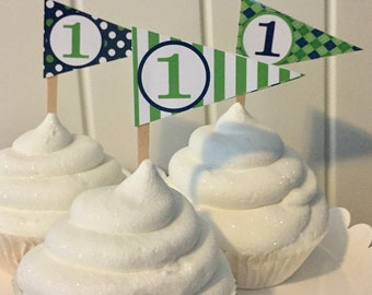 PREPPY GOLF Happy Birthday or Baby Shower Pennant Cupcake Toppers - Lime Green Navy - Set of 12 {One Dozen} - Party Packs Available