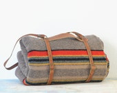 Pendleton Wool Blanket with Leather Carrier- Yakima Camp Twin Blanket