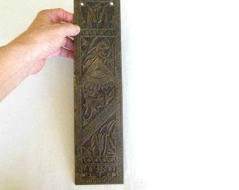 Rectangular Ornate Cast Metal Door Push Finger Plate