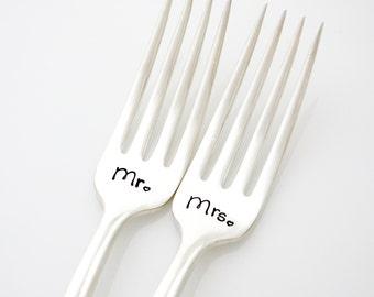Mr & Mrs wedding forks- hand stamped vintage forks for table setting, unique wedding gift or engagement gift. By MilkandHoney