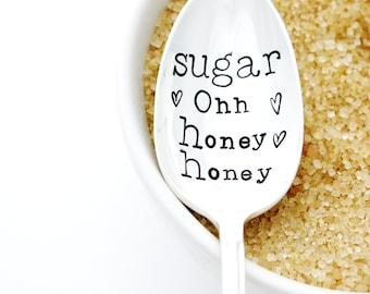 Sugar, Ohh Honey Honey. Vintage Stamped Spoon. Handstamped silverware by Milk and Honey ®