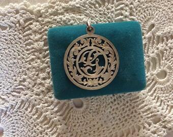Plafina sterling silver ornate monogrammed G pendant