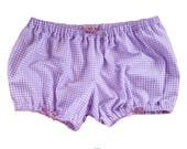 Lolita Bloomers purple flannel gingham shorts cotton underwear lingerie drawers pajamas nightwear sleepwear cute