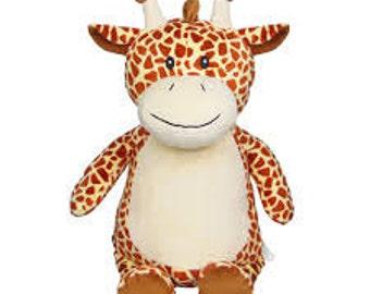 Personalised Embroidered Giraffe Cubbies, Stuffie, Baby, gift, New Baby, soft, Stuffed, Animal, Keepsake, Christening, Wedding, Birthday