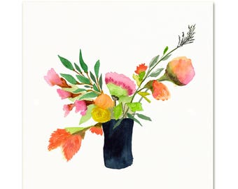 Watercolor Vase of Flowers. Floral Art Print. Bouquet of Flowers Painting. Floral Botanical Wall Art. Traditional Painting. Kitchen Wall Art