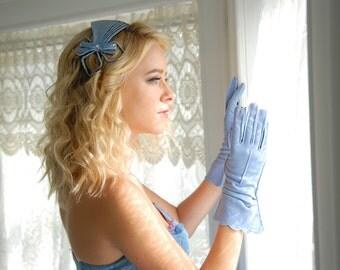 Blue vintage gloves, formal evening prom, 1950s