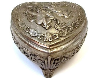 Heart Shaped Silver Jewelry Box Ornate Flower Leaf Design Cupids Angels Putto Heart Trinket Box Bridal Jewelry Box Heirloom Footed DD 1257