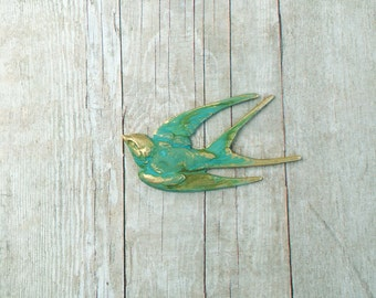 Swallow Bird Brooch Sparrow Pin Turquoise Verdigris Jewelry