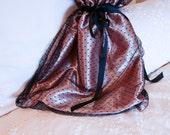 Lingerie Bag - Pyjama Bag - Peach Satin and Black Tulle - Shoe Bag - Stocking Bag - Wash Bag-  Gift For Mothers or Travel Gift for her