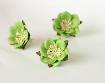 20 pcs - Green mulberry paper SAKURA flowers - Wholesale pack