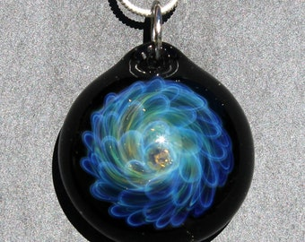 Blown Glass Pendant, Blue Glass Implosion, Lampwork Jewlery, Borosilicate glass