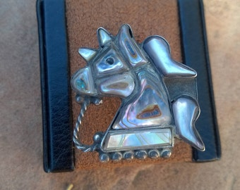 Vintage 1960's Abalone Horse Ring