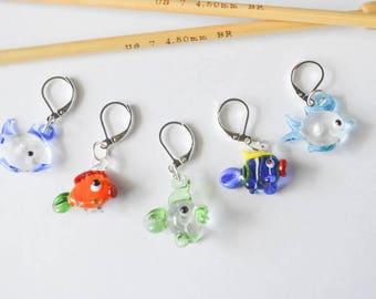 Little Fishes Progress Keeper Stitch Marker Set Lampwork Glass Fish Knitting Crochet Notions Gift Ideas