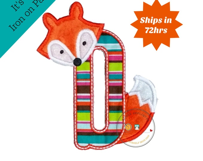 Woodland fox letter D machine embroidered iron on no sew patch, fox embroidered monogram letter D, ready to ship