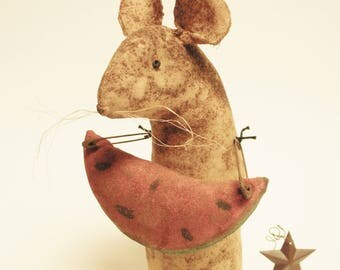 Extreme Primitive Watermelon Mouse - Made To Order, Primitive Summer Mouse, Watermelon Mouse Country Decor