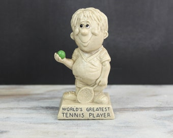 "Vintage Russ Berrie Statue, ""World's Greatest Tennis Player"" Figurine Keepsake, 1970s"