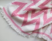 Small Chevron Stripe Blanket // Vintage Woven Pink and White Thin Lightweight Baby Blanket or Wall Hanging Tapestry Embroidery Bohemian