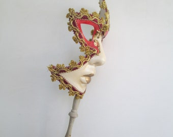 Masquerade Mask On Stick Musical Mask Red and Gold Full Face Venetian Mask Venice Carnival 2017